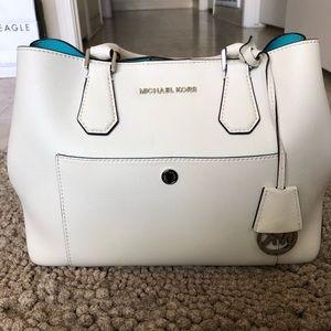 Michael Kors White Leather Handbag + MK Strap
